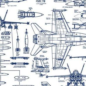 F-18 Blueprints in Blue // Large