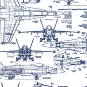 F-18 Blueprints in Blue // Large
