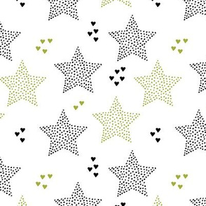 Twinkle twinkle little star cute baby nursery or christmas theme print in black white and olive green night