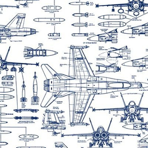 F-18 Blueprints in Blue // Small