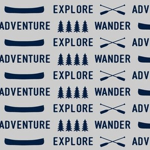 explore wander adventure || superior navy on grey - adventure camp