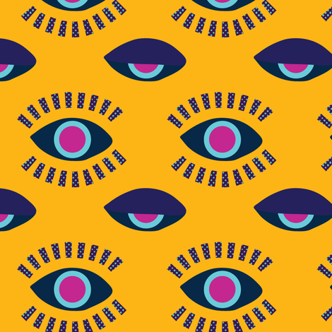 eyes awake mustard fabric by jokalute on Spoonflower - custom fabric