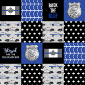 Police (Canadian Flag) Patchwork  - Blessed are the peacemakers & Back the blue -  thin blue line flag -  wholecloth  maple leaf