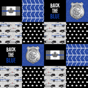 Police (Canadian Flag) Patchwork  - Back the blue  -  thin blue line flag -  wholecloth  maple leaf