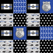 Police (Canadian Flag) Patchwork  --  thin blue line flag -  wholecloth