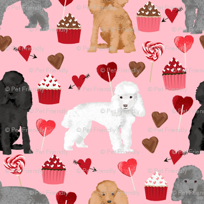 toy poodle mixed valentines day cupcakes hearts love dog breed fabric pink