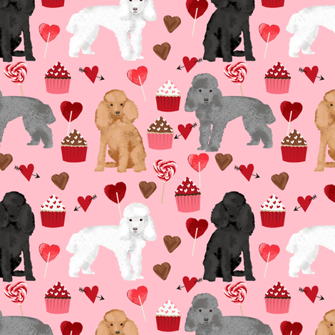 toy poodle mixed valentines day cupcakes hearts love dog breed fabric pink fabric by petfriendly on Spoonflower - custom fabric