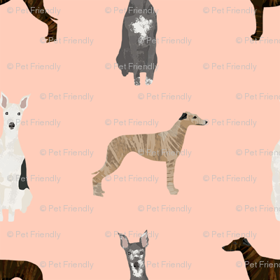 whippet simple dog breed fabric blush