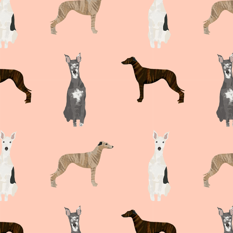 whippet simple dog breed fabric blush fabric by petfriendly on Spoonflower - custom fabric