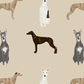 whippet simple dog breed fabric tan