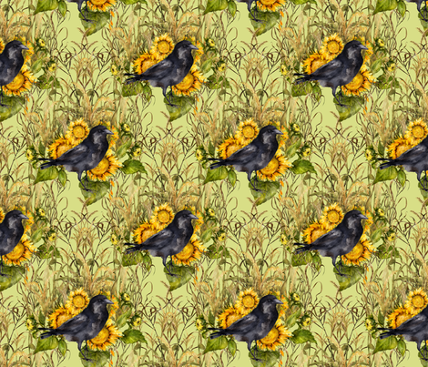 crow with sunflowers watercolor on light green  fabric by madeinskandia on Spoonflower - custom fabric