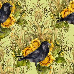 crow with sunflowers watercolor on light green