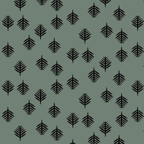 Small fern - black on smokey green (dark)