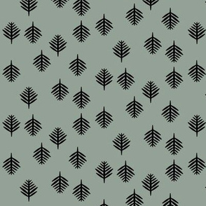 Small fern - black on smokey green (light)