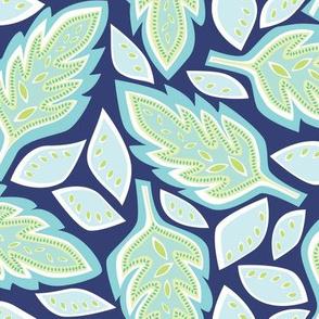 Big Leaves - Blue - smaller version