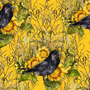 crow with sunflowers watercolor on yellow
