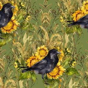 crow with sunflowers watercolor on green