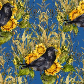 crow with sunflowers watercolor on blue