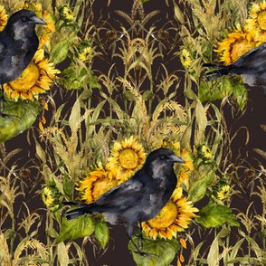 crow with sunflowers watercolor on  dark chocolate brown