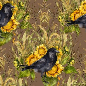 crow with sunflowers watercolor on brown