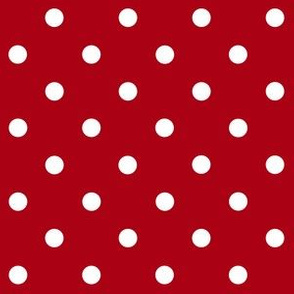 Small White Polka Dots on Dark Red