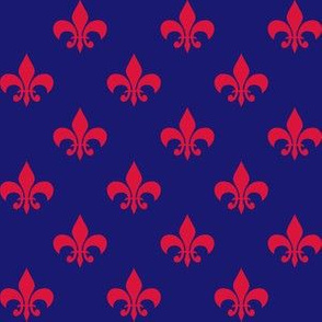 One Inch Red Fleur-de-lis on Navy Blue