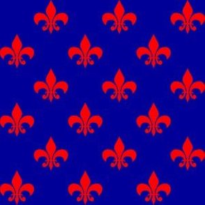 One Inch Red Fleur-de-lis on Navy Blue (Version 2)