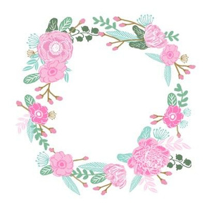 "7"" floral wreath - pink"
