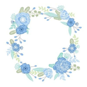 "7"" floral wreath - blue"