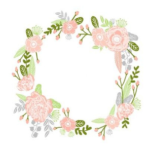 "7"" floral wreath - peach and lime"