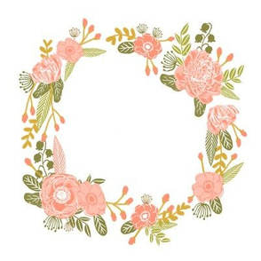 "7"" floral wreath - peach"