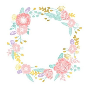 "7"" floral wreath - pink, purple, gold"