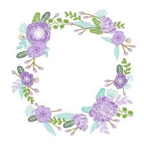 "7"" floral wreath - purple"
