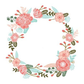 "7"" floral wreath - coral"