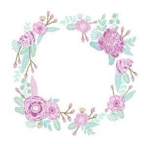 """7"""" floral wreath - mauve"""