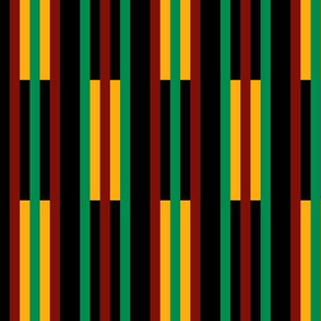 Green, Dark Red, Yellow Gold, Vertical  Stripes on Black, Kente Cloth
