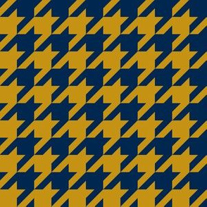 One Inch Navy Blue and Mustard Yellow Houndstooth Check