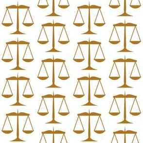 1.5 Inch Matte Antique Gold Scales of Justice on White