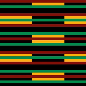 Green, Dark Red, Yellow Gold, Horizontal Stripes on Black, Kente Cloth
