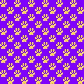 Half Inch Yellow Paw Prints on Purple