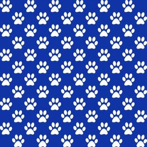 Half Inch White Paw Prints on Egyptian Blue