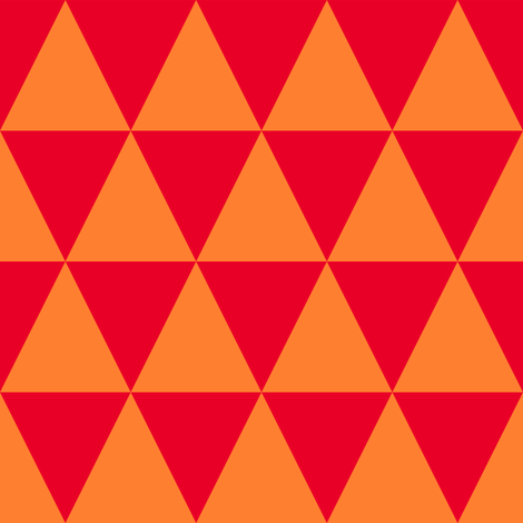 Two Inch Orange and Red Triangles fabric by mtothefifthpower on Spoonflower - custom fabric