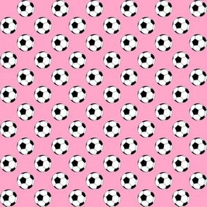 Half Inch Black and White Soccer Balls on Carnation Pink