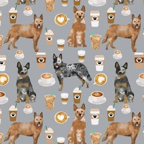 australian cattle dog fabric blue and red heelers and coffees fabric - grey
