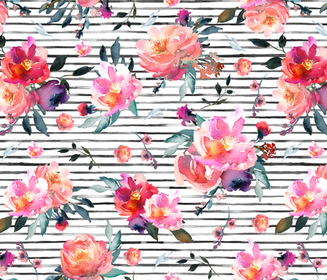 spring floral black stripes fabric by lil'faye on Spoonflower - custom fabric