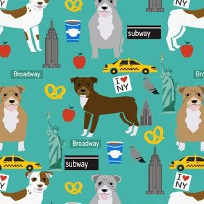 pitbull new york fabric pibble dog in nyc design - turquoise