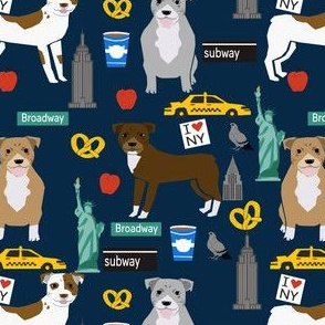 pitbull new york fabric pibble dog in nyc design - dark navy