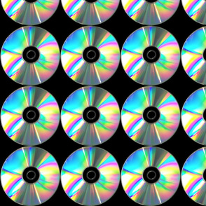 rainbow colorful multi colored iridescent chrome holographic CD compact discs optical dvd pop art modern electronics circles round