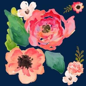 """8"""" Floral Dreams / NAVY"""