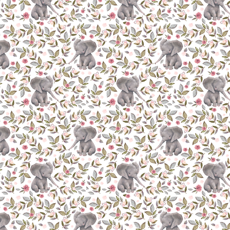 "3"" Baby Elephant with Flowers/ NO CROWN  / Mix & Match fabric by shopcabin on Spoonflower - custom fabric"
